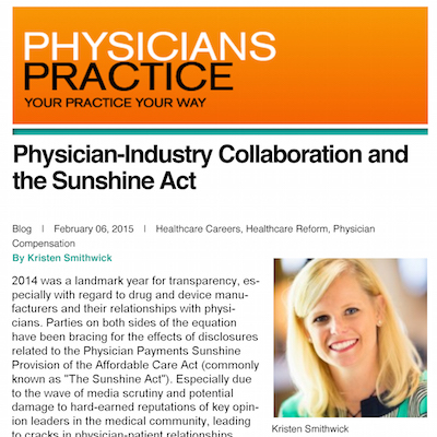 Physician-Industry Collaboration and the Sunshine Act | Physicians Practice