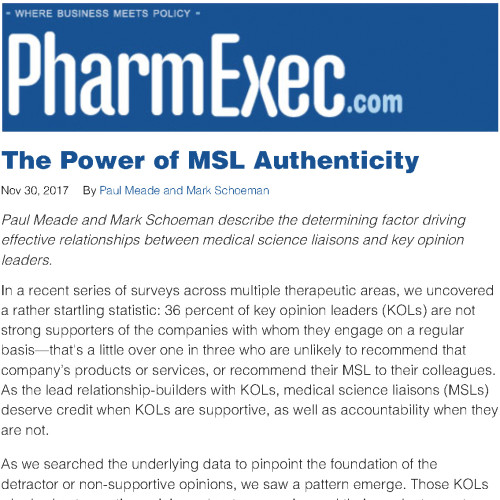 The Power of MSL Authenticity | Pharmaceutical Executive